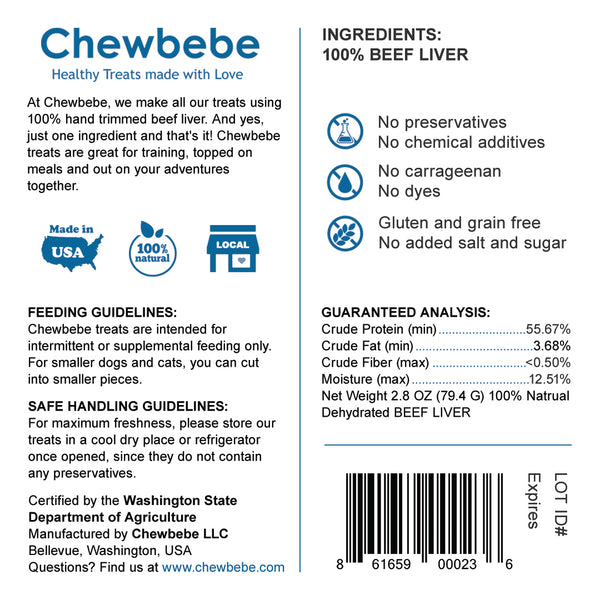 Chewbebe Chewie's Healthy Grass Fed Beef Liver Dog Treats: All Natural Fresh One Ingredient USA
