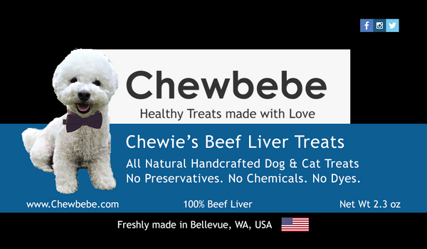 Chewbebe Chewie's Healthy Grass Fed Beef Liver Dog Treats: All Natural One Ingredient Dehydrated Dog Treat Grain Free