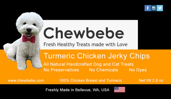 Chewbebe Natural Turmeric Chicken Jerky Chips Dehydrated Fresh USA Dog Treats