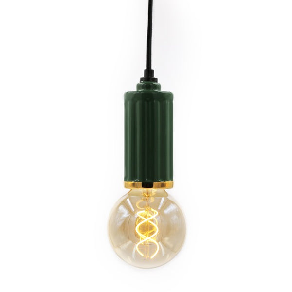 Designed by Maison Sarah Lavoine Riviera pendant light reveal round and coloured ceramic curves , reminding rattan cues. The gold ring at the end of the socket brings shine and a luxurious finished.