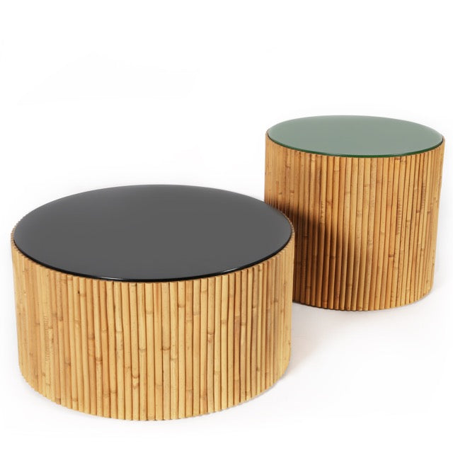 Designed by Maison Sarah Lavoine, Riviera coffee tables are made of rattan and lacquered wood, bringing a fresh take on vintage rattan.The pair of coffee tables comes in 4 colours combination and are sold by 2