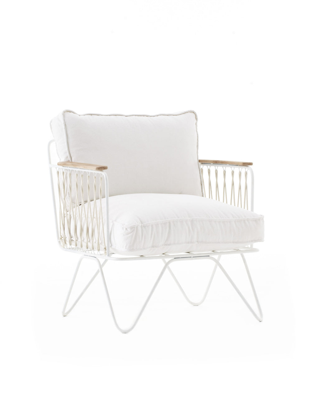 The Croisette Armchair by Honore exists in velvet and cotton for indoor. the comfortable chair invites you to relax and take the time to enjoy the little moments. | colour:White