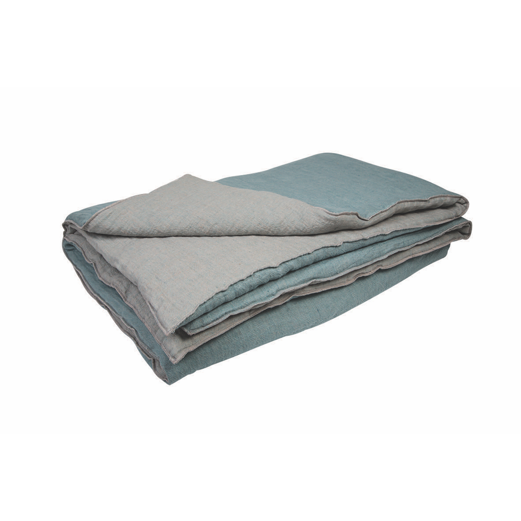 Washed linen bed cover