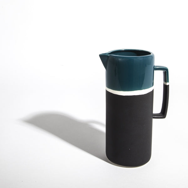 Graphic lines, deep colours and double finish effect matte and shiny, this retro-looking jug has been designed by Maison Sarah Lavoine and handmade traditionally by skilled artisans at Jars Ceramists in southern France. |