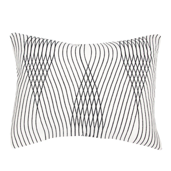 Designed by Maison Sarah Lavoine the embroidered lines of the cushion pattern bring depth, texture and define the modern personality of Daria cushion. | colour:white