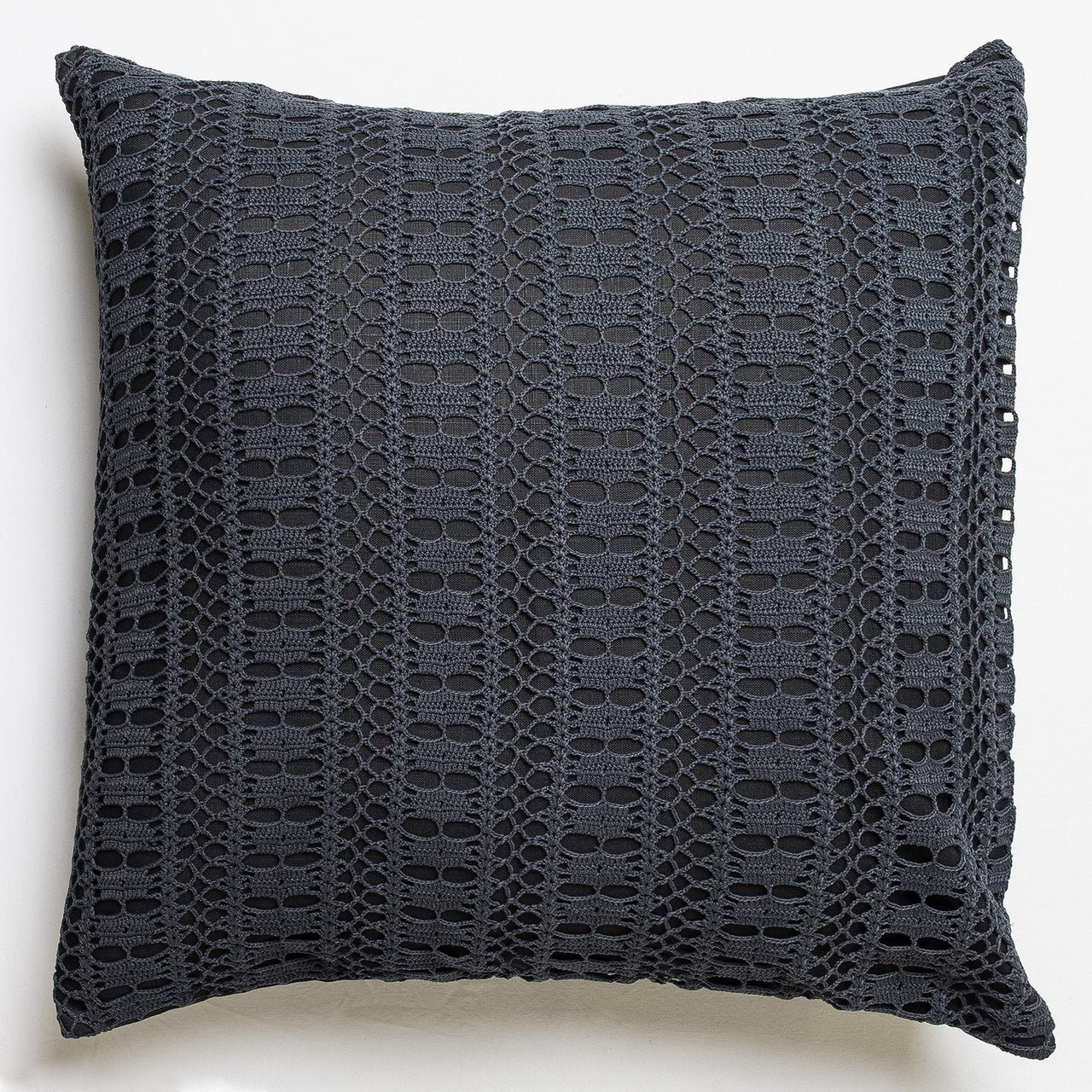 Each of these cushion is unique and a very exceptional piece, entirely handmade from vintage crochet lace collected around French regions by Veronique de Soultrait | colour:Black 1