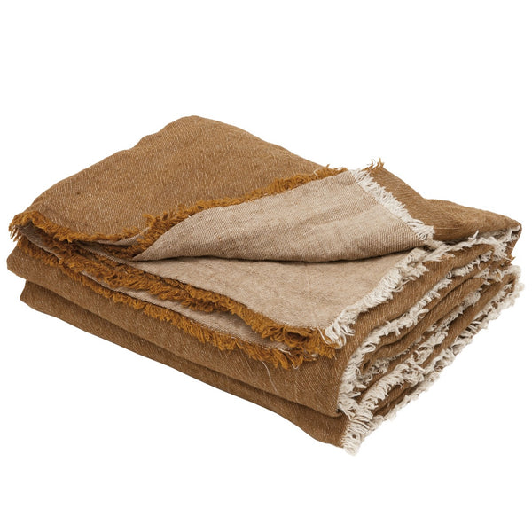 Dress-up your bed or your sofa with Maison de Vacances washed linen bed throws in earthy tones. Luxurious finishing touch of your decor with their generous size, unique colour and soft linen feel.