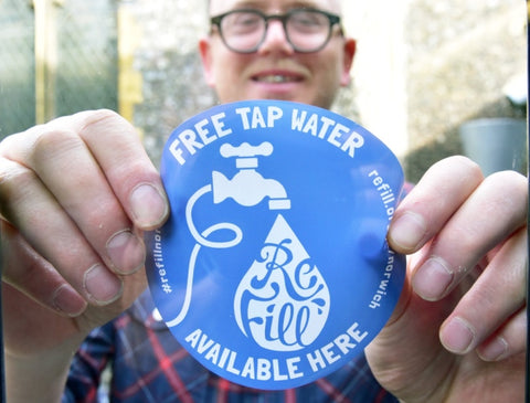Refill free tap water available here sticker