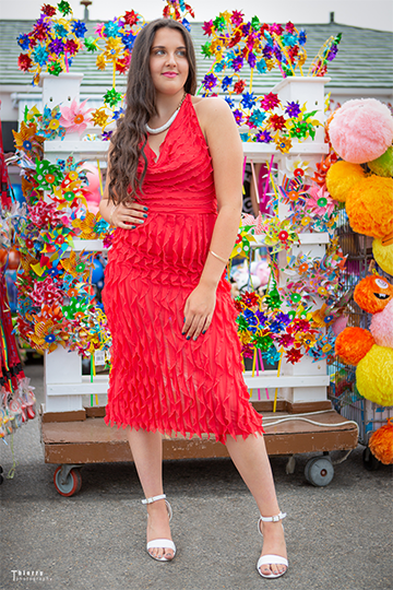 Red Summer Dress With Frills