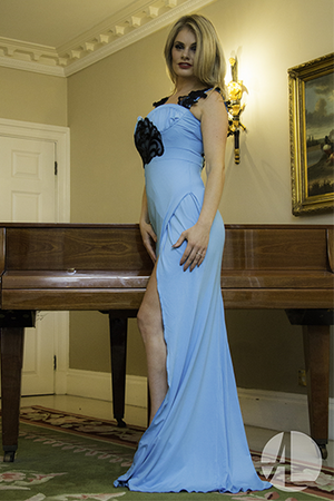 Blue with Black Lace Embroidery Evening Gown