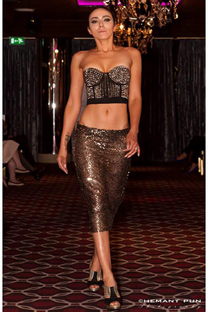 Gold Embellished Crop Top with Gold Sequined Skirt 2 pieces Set