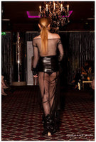 LEATHER FLOWERS EMBROIDERY MESH HIGHT WAISTED SKIRT & BODYSUIT