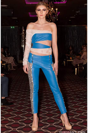 Blue Leather Embellished 2 Pieces Set