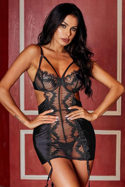 Black Mesh Satin Chemise Set