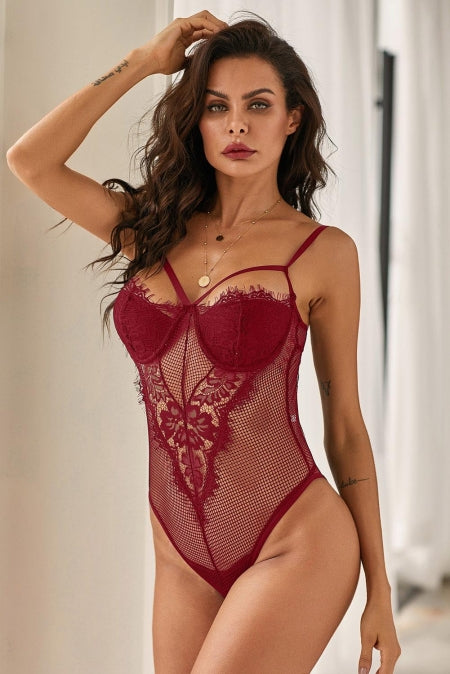 Sheer Eyelash Lace Teddy