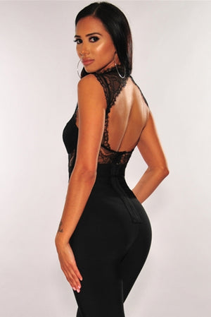 Black Lace Bustier Bodysuit
