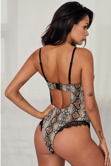Strap Backless Printed Teddy