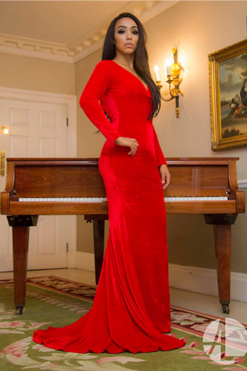 Backless Red Velvet Evening Gown