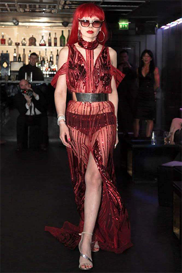 Red Embellished Haute Couture Evening Gown