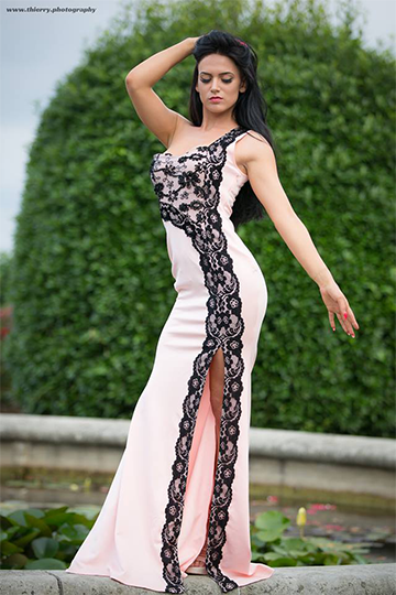 Pink Black Lace Evening Gown