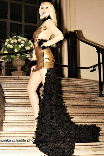 Gold Sequin Embellished Feather Haute Couture Evening Gown