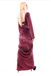 Red Backless Peplum Velvet Evening Couture Gown