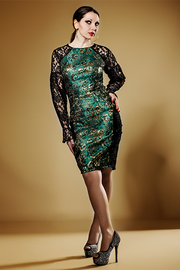 Golden Green Brocade with Black Flower Lace Luxe Dress