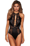 Black Lace Satin Bodysuit