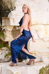 Royal Blue Backless Sequined Dress Gown