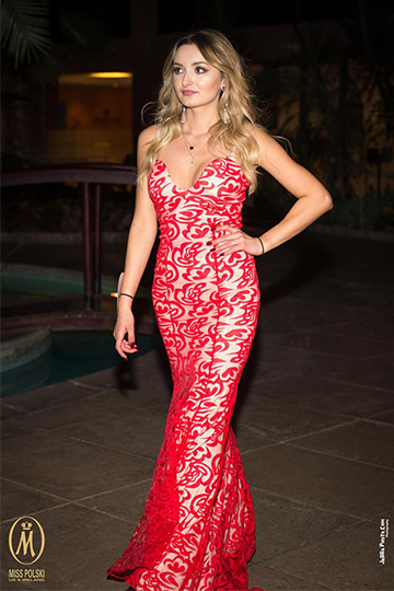 Red Flowers Lace Evening Gown