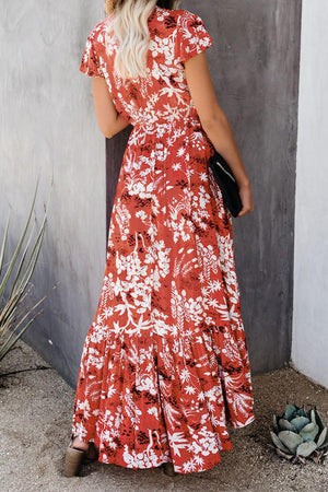 Red Floral High Low Pocketed Tie Maxi Dress