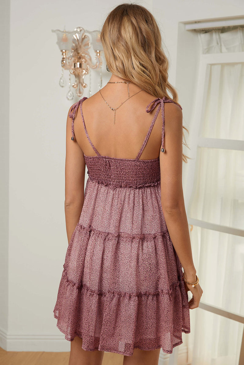 Pink A-line Layered Ruffled Floral Dress