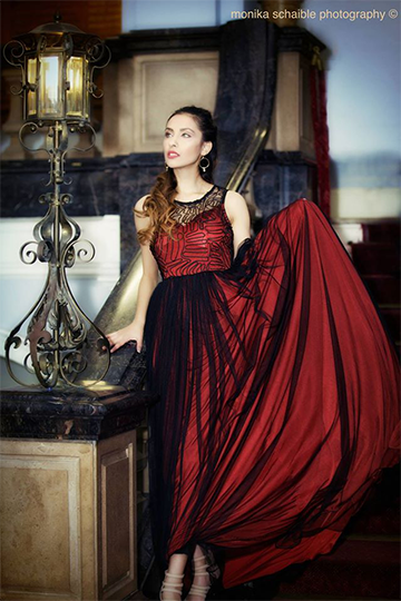 Burgundy Black Lace Tull Evening Gown