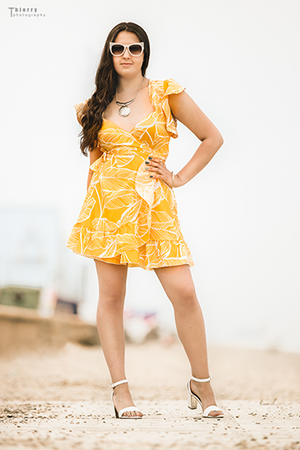 Yellow Summer Print Mini Dress