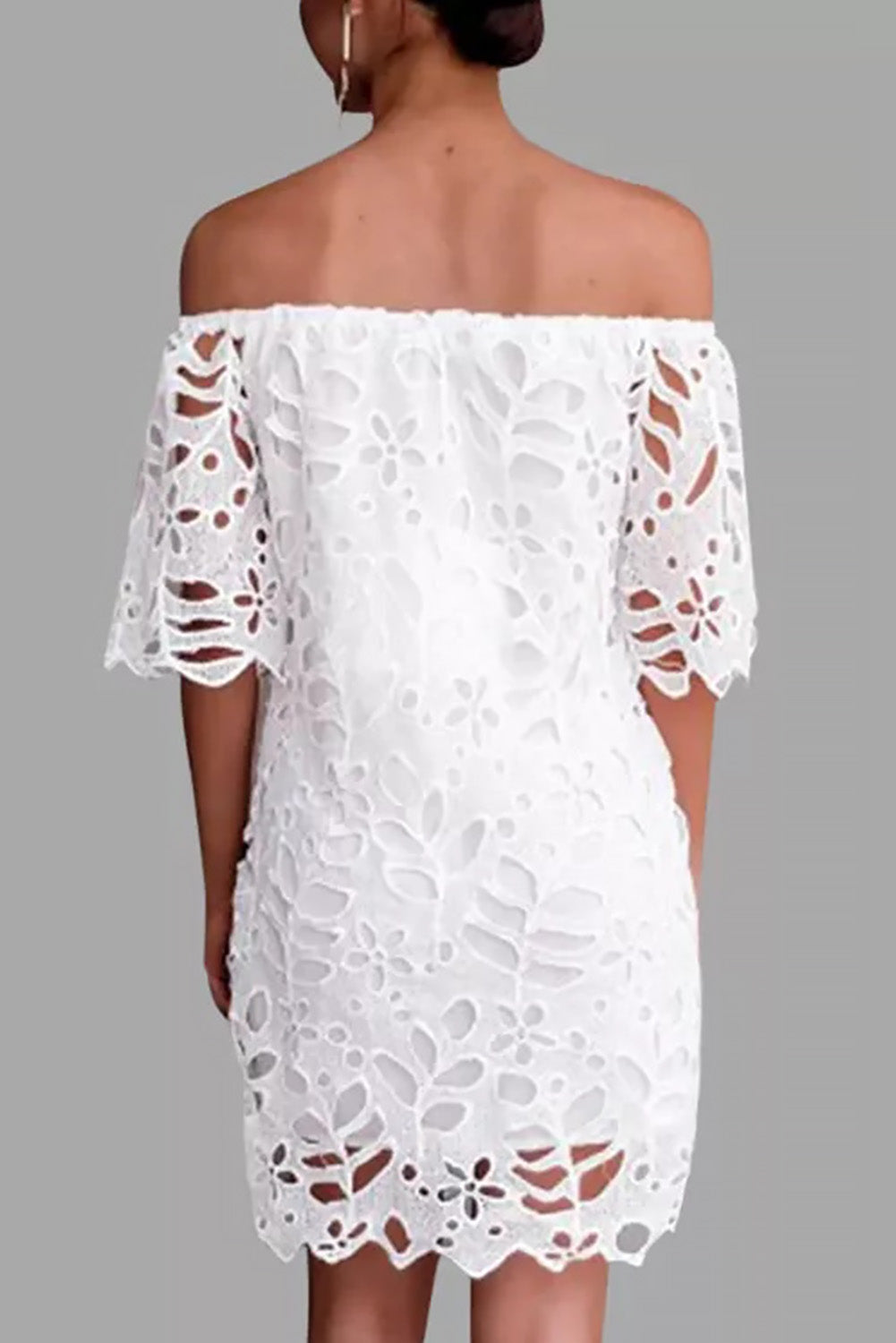 White Lace Detail Off The Shoulder Half Sleeve Dress