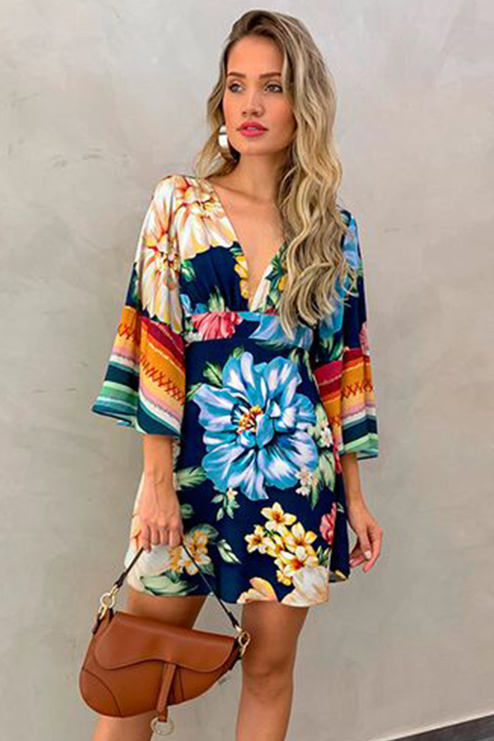 Multicolor V Neck Bell Sleeve Floral Dress