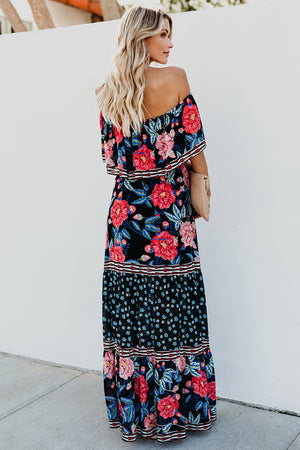 Off-the-shoulder Printed Bohemia Dress