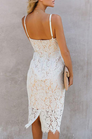 White Eyelash Lace Spaghetti Strap Dress