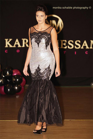 Silver Sequins Black Lace Embroidery Evening Gown