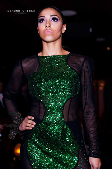 Green Sequined Couture Luxe Gown