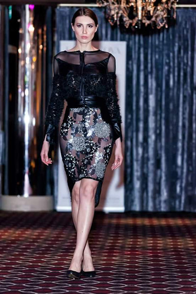 FLOWER EMBELLISHMENT MESH WITH LEATHER DETAIL TOP & SKIRT