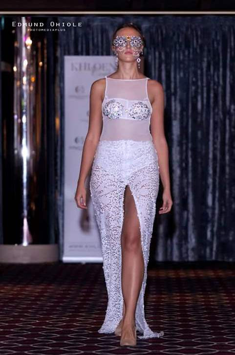 WHITE CRYSTAL EMBELLISHMENT COUTURE GOWN WITH BODYSUIT