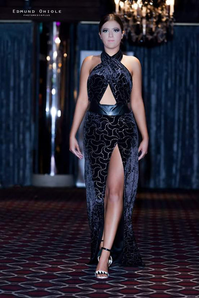 LUXURY SHINY VELVET FRONT CROSS BACKLESS GOWN