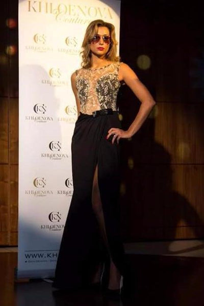 Black Gold Lace Evening Gown