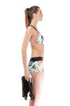 Flower Print Shots Tops Bikini Set