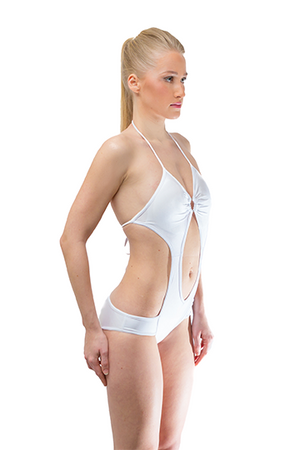 Hollow out White One Piece Swimsuit