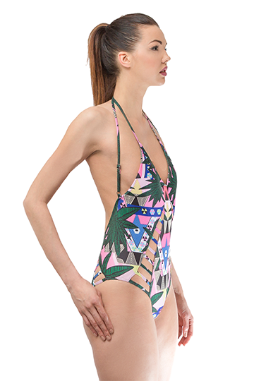 Backless Palm Tree Printed One Piece Swimsuit