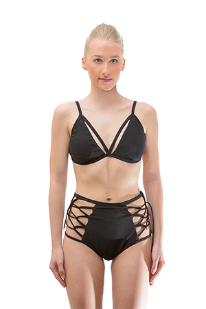 Black Hollow out Brazilian Bikini Set