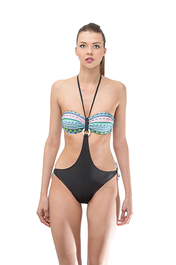 Cut Out Strapless One Piece Swimwear