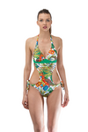 Tropical Print Cut Out Swimsuit